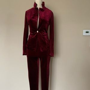 Fashion Nova red velvet suit. NWT